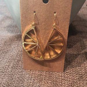 Long lemon slice summer earrings in gold